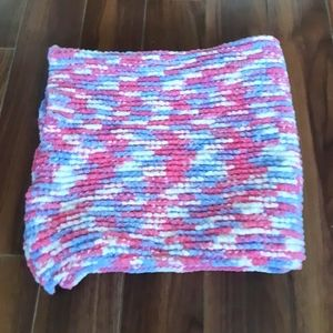 Pink, White and Blue Fleece Baby Blanket